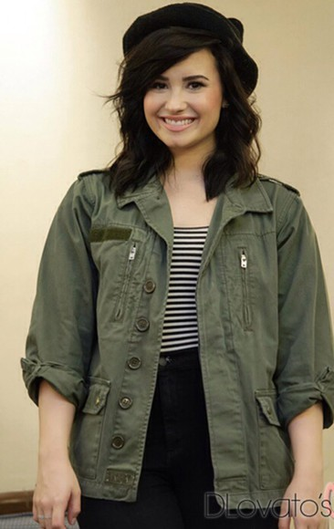 green jacket military demi lovato khaki jacket