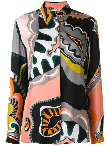 Emilio Pucci blouse retro women silk pattern top