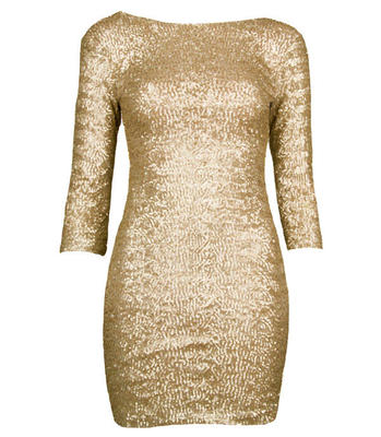 GOLD SEQUIN BODYCON SHIFT DRESS WITH 3/4 LENGTH SLEEVES SIZE 8 | eBay
