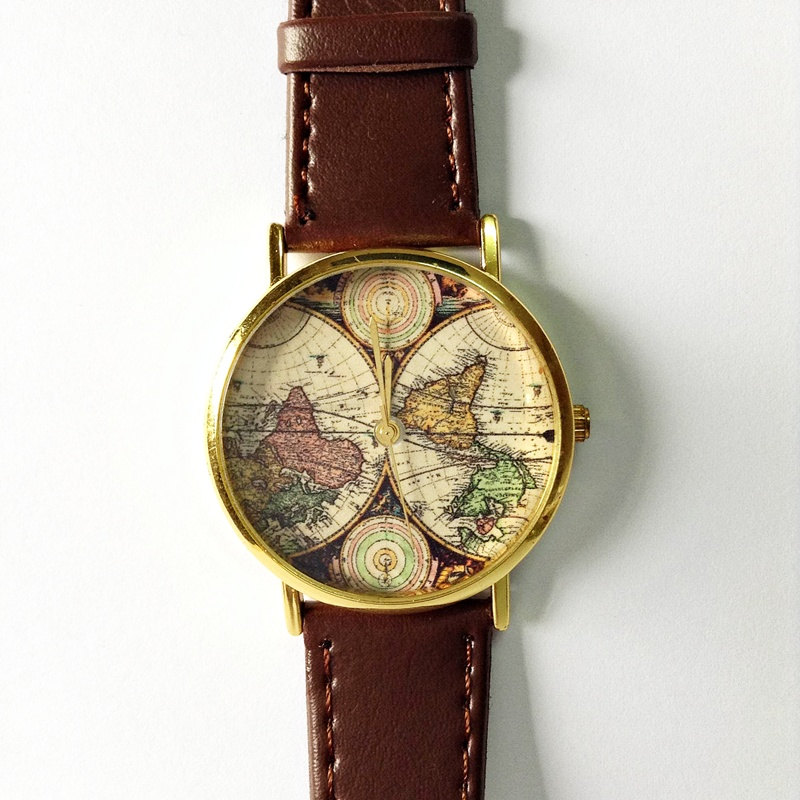 Map Watch, Vintage Style Leather Watch, Women Watches,Mens Watch, Boyfriend Watch, World Map, Brown,