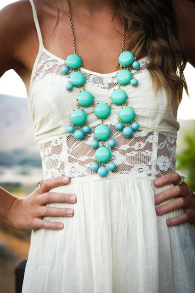 dress lace pretty white frantic jewelry white dress jewels jewelry hipster cute white lace white lace dress cute dress turquise accessories spagetti straps model hot hippie hippie chic summer love pinterest turquoise white lace dress, statement necklace
