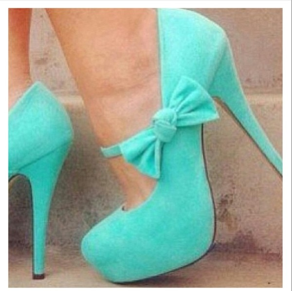 shoes heels mint bow pastel