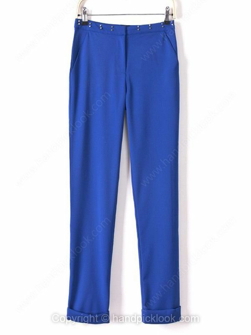 Blue Beading Embellished Casual Pant - HandpickLook.com