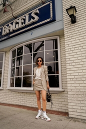 top,white top,blazer,skirt,sunglasses,plaid skirt,black dress
