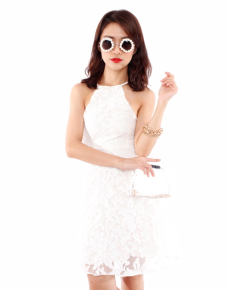 white sunglasses dress white dresses white lace dress white dress lace dress 2014 prom dresses