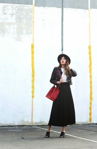 the marcy stop blogger red bag leather jacket maxi skirt black skirt