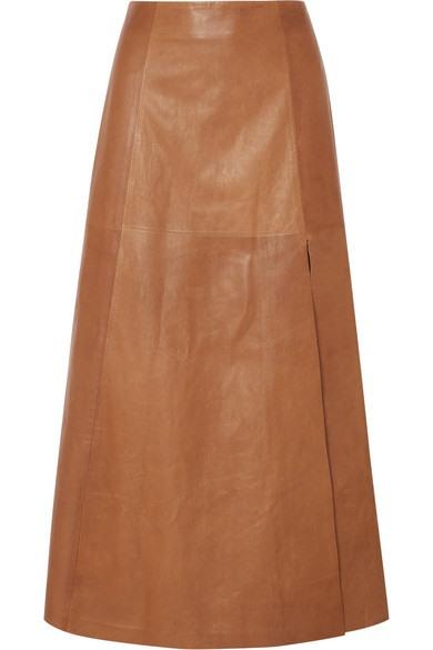 Salvatore Ferragamo - Leather Midi Skirt - Tan - Leather Midi Skirt