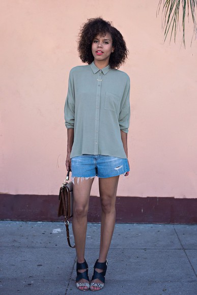 shorts shoes denim shorts style me grasie blouse bag blogger summer outfits denim green shirt top shop purse sandals strappy sandals hipster high heels