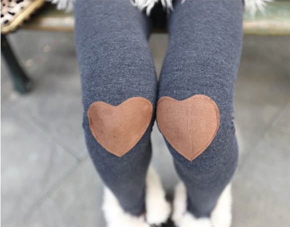 Red Heart Patched Leggings, Tights In Grey on Luulla