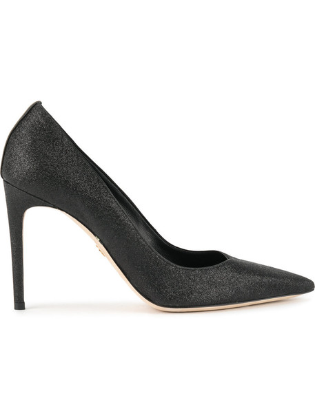 women classic pumps leather cotton black shoes