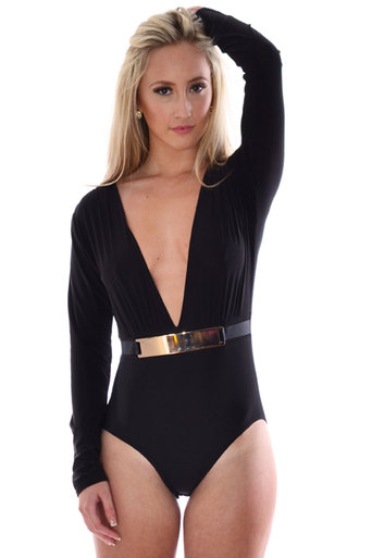 Hollis Front Buckle Bodysuit In Black - Pop Couture