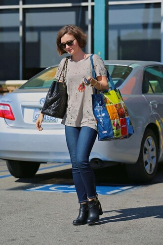 shirt shoes jeans bag sunglasses lily collins