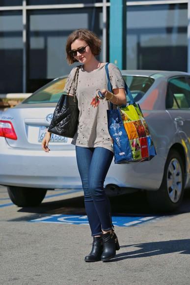 shoes bag shirt jeans sunglasses lily collins
