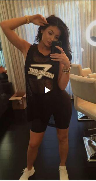 top mesh kylie jenner sneakers sportswear sports bra