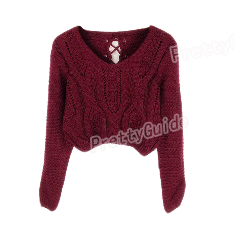 Women Eyelet Cable Knit Lace Up Crop Long Sleeve Sweater