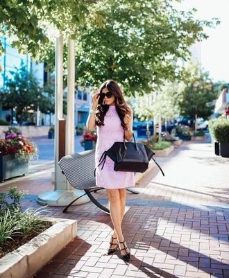 thesweetestthing blogger dress bag sunglasses jacket jewels shoes pink dress black bag lace dress mini dress black heels
