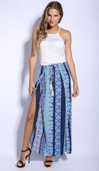 skirt blue skirt blue maxi skirt tribal skirt tribal maxi skirt black heels white high neck top white crop boho maxi skirt boho