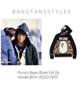 jacket,bape,puma,bape hoodie,bape x puma,taehyung,kim taehyung,bts