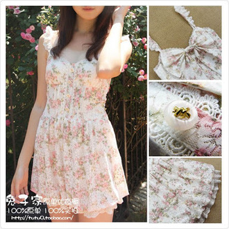 dress floral dress cute dress kawaii dress lis liza sweet dress lovely vintage dress