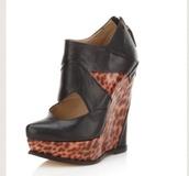 shoes,wedges,cut out ankle boots,gold zipper,leather,british designer atlanta weller