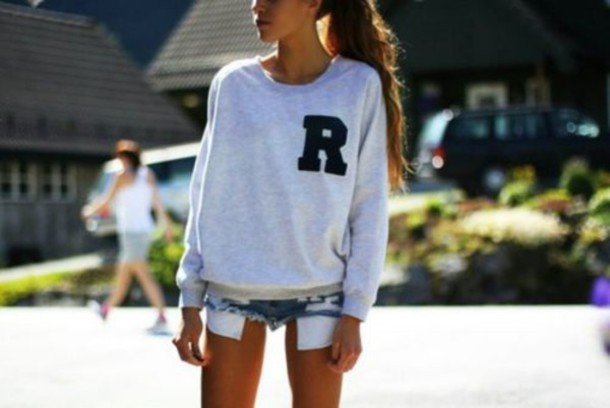 sweater grey sweater cozy cozy sweater shorts mini shorts ripped ripped shorts