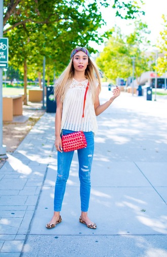 blouse jeans youtuber mylifeaseva ballet flats flats purse shoes printed ballerinas animal print leopard print denim blue jeans ripped jeans white top top sleeveless top sleeveless red bag crossbody bag hair accessory leopard printed ballerinas