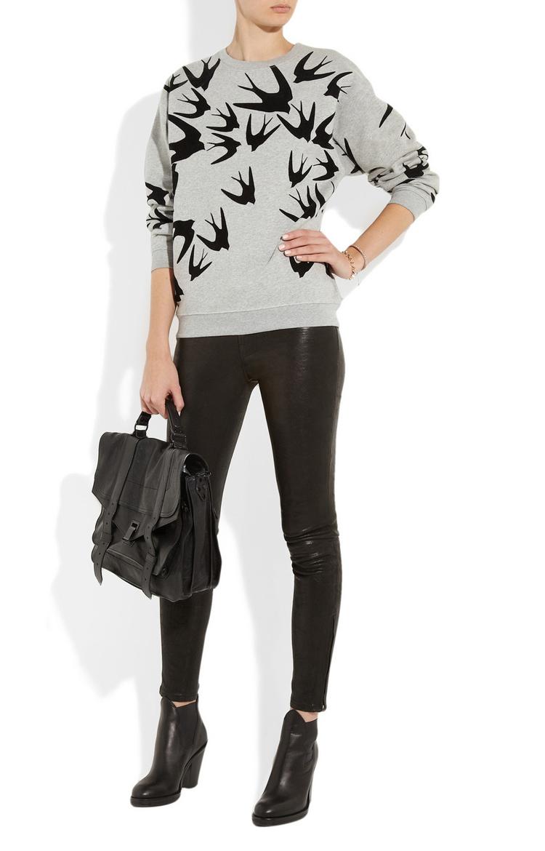 Gray Swallow Print Sweatshirts$29