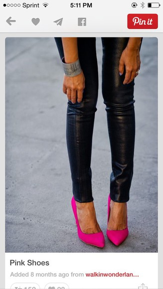 shoes high heels hot pink pointy