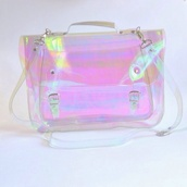 bag,pastel bag,kawaii,holographic,seapunk,asian fashion,pastel goth,transparent  bag,backpack,90s style