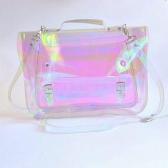 bag pastel bag kawaii holographic seapunk asian fashion pastel goth transparent  bag backpack 90s style