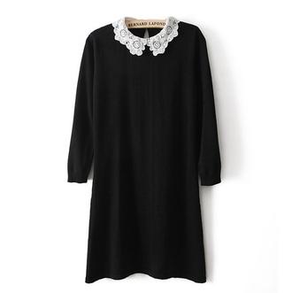 knit dress black mini dress retro dress vintage crochet collar three-quarter sleeves