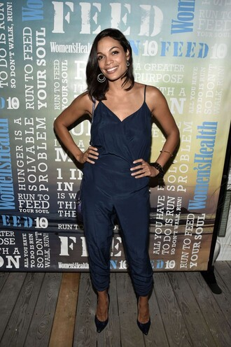 jumpsuit navy summer outfits rosario dawson pumps