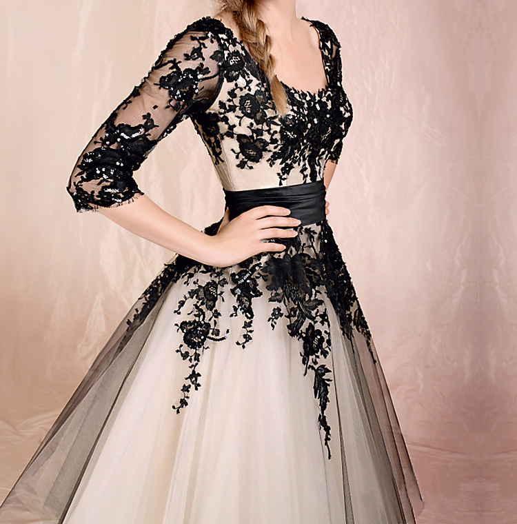 2951c18e7ea4 Fansinating Black Lace Ball Gown Round Neckline Half-sleeves Knee Length  Prom Dress from SinoSpecial on Storenvy
