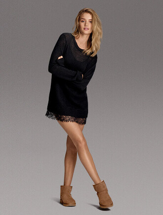 dress black dress sweater dress ugg boots rosie huntington-whiteley robe black dentelle lace dress boots rosy huntingdon