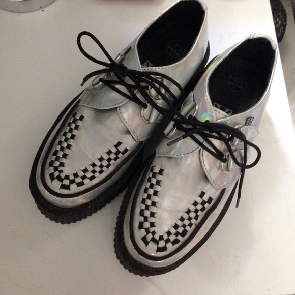 Urban Outfitters Tuk Holographic Mondo Creepers From