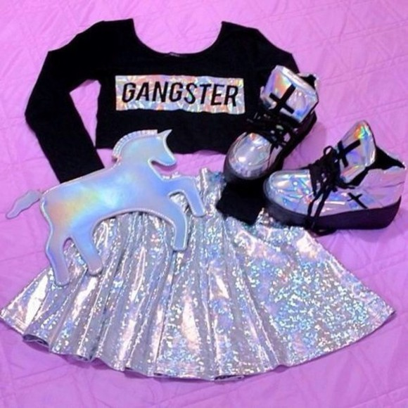 cross shoes holographic holographic shoes platform sneakers high top sneaker high tops bag skirt
