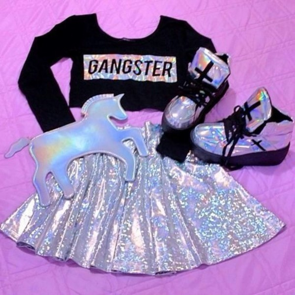 shoes holographic holographic shoes cross platform sneakers high top sneakers high tops bag skirt