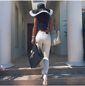 jeans white high waist mid rise skinny hat