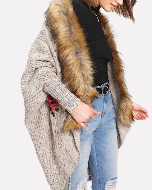cardigan girly oversized cardigan long cardigan knitwear knit knitted cardigan oversized fur