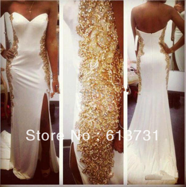 2014 new arrival Sexy Sweetheart Chiffon White Mermaid Prom Dresses Long Gold Crytal Beaded Side Split Evening Dresses jov157976-in Prom Dresses from Apparel & Accessories on Aliexpress.com
