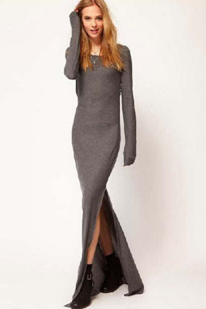 a7ca652b0b71 dress grey grey dress long dress maxi dress boots casual urban long sleeve  dress side split
