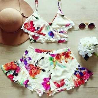 skirt romper girl girly girly wishlist floral crop crop tops cropped cute style matching set two-piece