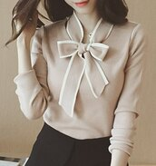 blouse,knot,bow,nude,knitwear,knitted sweater,jumper,top,clothes,outfit,fashion,style,sammydress,office outfits,shirt,sweatshirt
