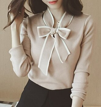 blouse knot bow nude knitwear knitted sweater jumper top clothes outfit fashion style sammydress office outfits shirt sweatshirt