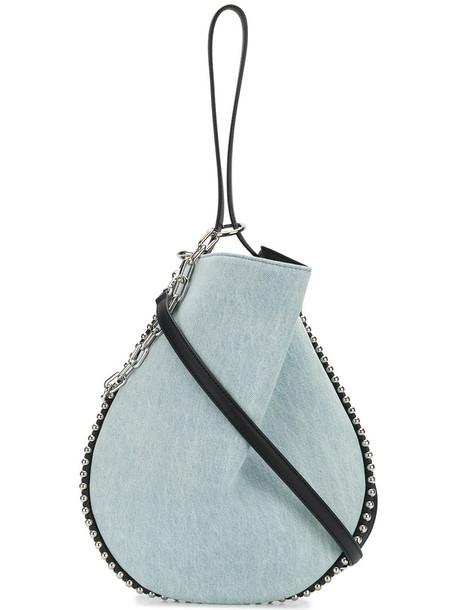 Alexander Wang denim women bag tote bag leather cotton blue