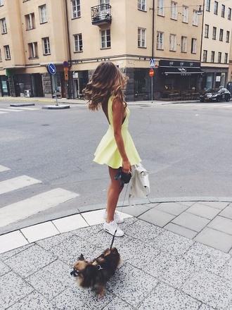 dress yellow dress skater dress open back summer dress