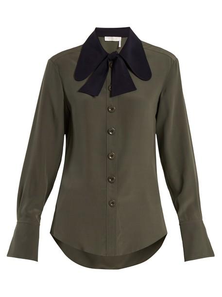 Chloe shirt silk green top