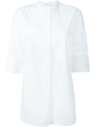 blouse open white top
