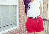 shirt,red,clothes,shorts,belt,sleeveless,button down,summer,summer pants,dressy,cinched,black,white,gold,blouse,tumblr,tumblr girl,one direction,fashion,collared shirts,girly,vintage,hipster,elegant,indie,oversized