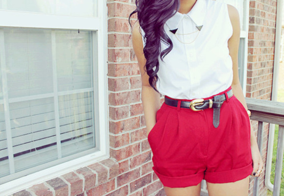 red shorts white blouse oversized black fashion gold tumblr tumblr girl one direction collared shirts girly vintage hipster elegant indie Belt shirt clothes Belt sleeveless button down summer outfits summer pants dressy cinched